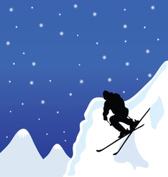 Skiing man in winter vector