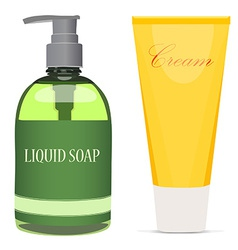Liquid soap bottle and cream tube vector
