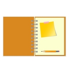 Open notebook with yellow sticker and pencil vector