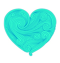 Decorative teal heart vector