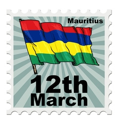post stamp of national day of Mauritius vector image