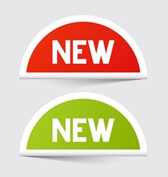 New red and green paper stickers vector
