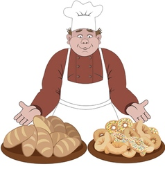 Baker offers the bread and buns vector