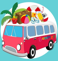 Summer theme with van loaded with things vector