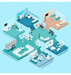 Hospital isometric scheme icons vector