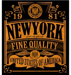 New york Vintage Slogan Man T shirt Graphic Design vector image