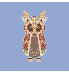 Owl wearing tribal clothing vector
