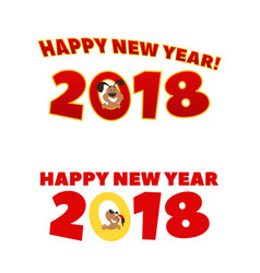 An inscription with a new year and a puppy peeking vector