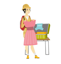 Asian traveler woman packing suitcase vector