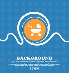 Baby stroller icon sign blue and white abstract vector