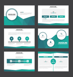Blue green annual report presentation templates vector