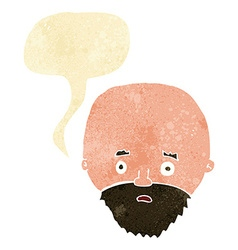 Cartoon shocked man with beard with speech bubble vector