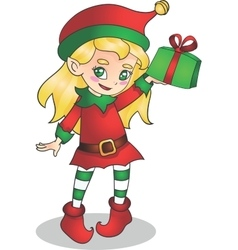 Christmas elf girl character with present vector