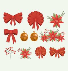 christmas set decorative ribbons bows and vector image