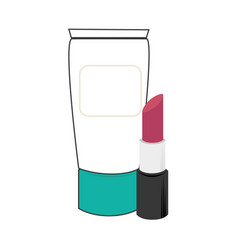 Cream bottle and lipstick beauty products vector