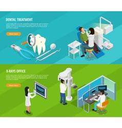 Dental isometric horizontal banners vector