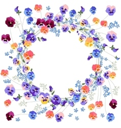 Detailed contour wreath withviola and forget-me vector