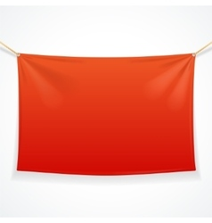Fabric rectangular red banner with ropes vector