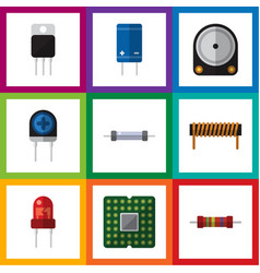 Flat icon electronics set of transistor recipient vector
