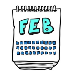 freehand drawn cartoon calendar showing month of vector image