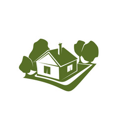 green sign of house and trees vector image vector image