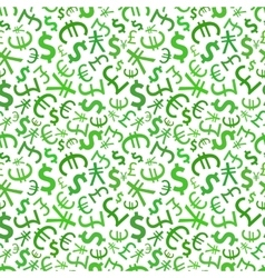 Green signs of world currencies on white seamless vector