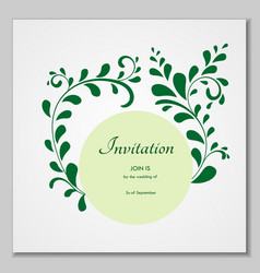 Greeting card with stylized leaves can be used as vector