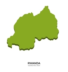 Isometric map of Rwanda detailed vector image vector image