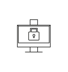 Locked computer icon vector