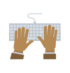 male hands on white keyboard with wire vector image vector image
