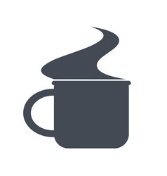 Monochrome mug with steam for camping vector
