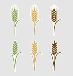 Paper art cut stickers ears of wheat vector