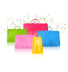 realistic colorful paper shopping bag set vector image vector image