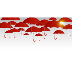 Red umbrella background for rainy season vector