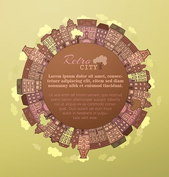 Round autumn city landscape vector image