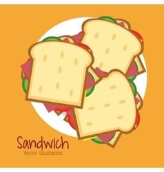 Sandwich plate bread lunch snack icon vector
