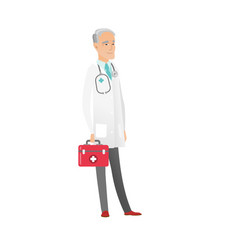 Senior caucasian doctor holding first aid box vector