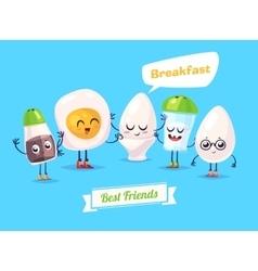 Set of breakfast characters cute cartoons vector