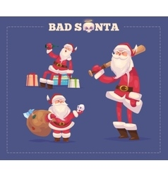 Set of the bad santa christmas greeting card vector