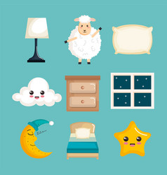 Sleep time icons flat set with vector