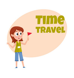 Travel time poster banner postcard design with vector