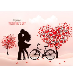 Valentines Day background with a kissing couple vector image