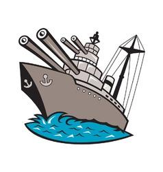 Warship battleship boat with big guns vector