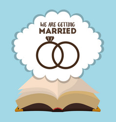 We are greeting married card with rings and bible vector