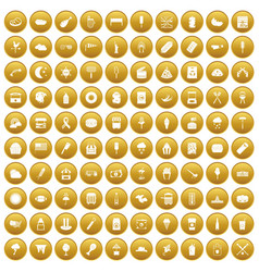 100 street food icons set gold vector