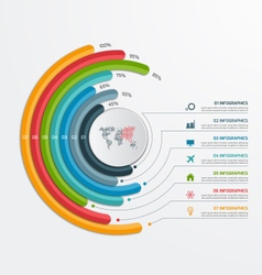 Circle infographic template with 7 processes vector