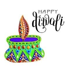 original greeting card to deepavali festival with vector image
