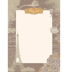 Menu list with eiffel tower and roses vector