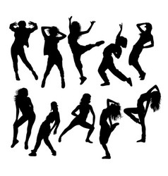 Hip hop dancing silhouettes vector