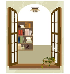 Bookshelf from window vector